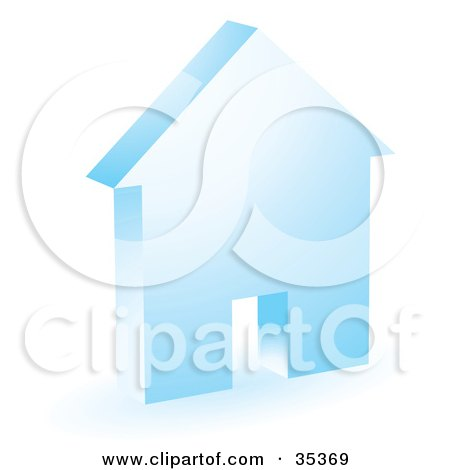 Clipart Illustration of a Blue House Icon With A Doorway by KJ Pargeter