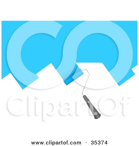 Clipart Illustration of a Rolling Paintbrush Applying Blue Paint To A White Wall by KJ Pargeter