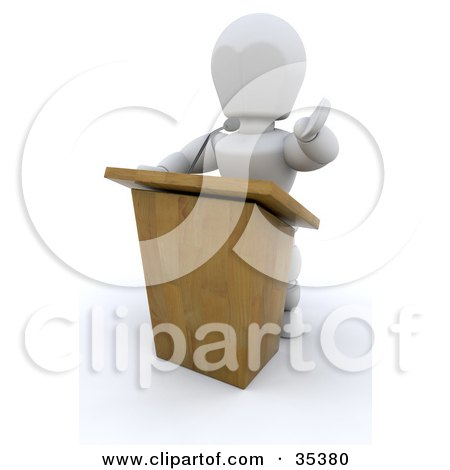 Clipart Illustration of a 3d White Character Behind A Podium, Giving A Speech by KJ Pargeter