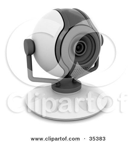 Clipart Illustration of a Compact White And Gray Web Cam Facing Slightly Right by KJ Pargeter