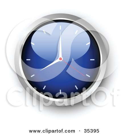 Clipart Illustration of a Shiny Blue Wall Clock With The Arms Pointing At 7 by KJ Pargeter
