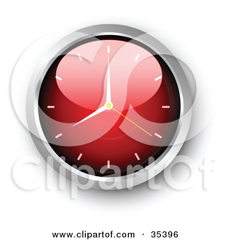 Clipart Illustration of a Shiny Red Wall Clock With The Arms Pointing At 7 by KJ Pargeter