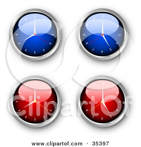 Clipart Illustration of a Set Of Four Blue And Red Wall Clocks by KJ Pargeter