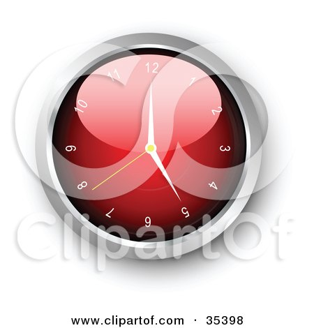 Clipart Illustration of a Shiny Red Wall Clock With The Arms Pointing At 5 by KJ Pargeter