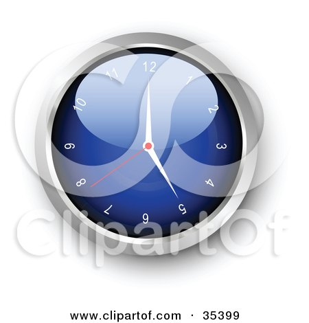 Clipart Illustration of a Shiny Blue Wall Clock With The Arms Pointing At 5 by KJ Pargeter