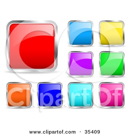 Design Set Of Red, Blue, Purple, Yellow, Green, Orange And Pink Chrome Rimmed Icon Buttons Posters, Art Prints