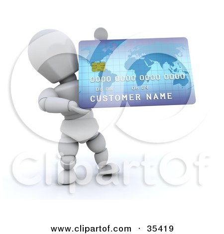 Clipart Illustration of a 3d White Character Holding Up A Large Blue Credit Card by KJ Pargeter