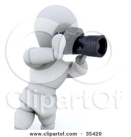 Clipart Illustration of a 3d White Character Photographer Taking Pictures With A Digital SLR Camera by KJ Pargeter