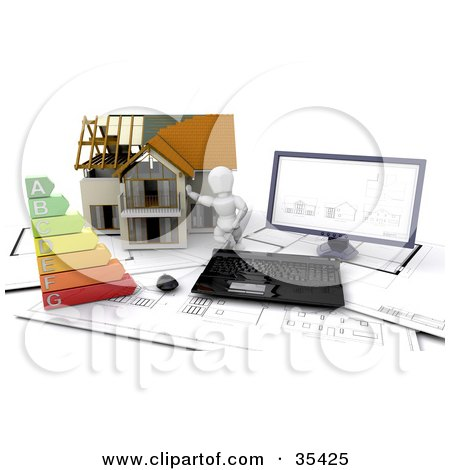Clipart Illustration of a 3d White Character Resting Against A Home, On Top Of Blueprints With A Computer And Energy Rating Chart by KJ Pargeter