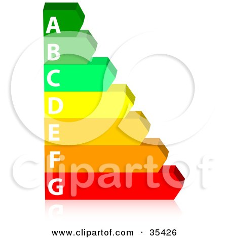 Clipart Illustration of a Green, Yellow, Orange And Red Energy Rating Chart On A Reflective Surface by KJ Pargeter