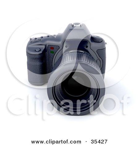 Clipart Illustration of a Black Digital SLR Camera With A Large Zoom Lens by KJ Pargeter