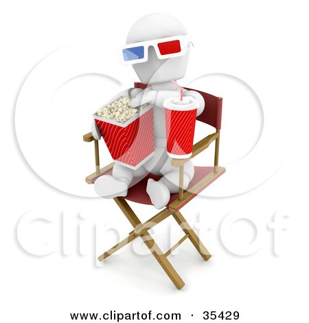 Clipart Illustration of a Relaxed White Character Wearing 3d Glasses, Munching On Popcorn And Sipping Soda While Sitting In A Directors Chair At A Movie by KJ Pargeter