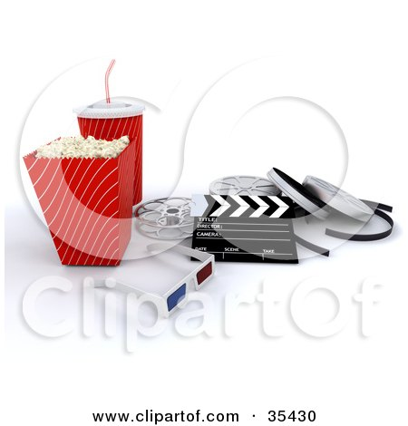 Clipart Illustration of a Pair Of 3d Glasses Resting With A Clapperboard, Film Reels, Soda And Movie Popcorn by KJ Pargeter