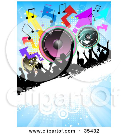Clipart Illustration of a Partying Silhouetted Crowd On A Black And White Grunge Bar With Colorful Speakers, Arrows And Music Notes On A Blue Background by KJ Pargeter