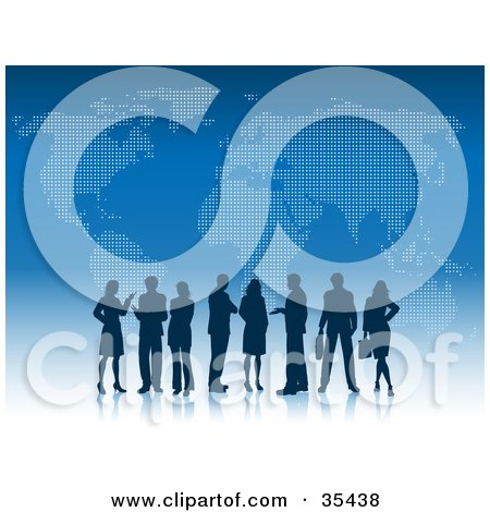 Silhouetted Professional Business Men And Women Standing On A Reflective White Surface With A Blue Atlas Background Posters, Art Prints