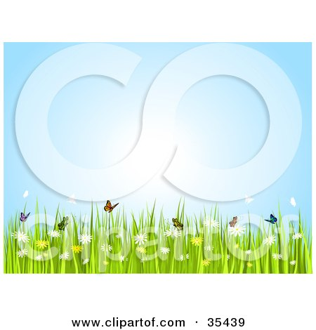 Clipart Illustration of Butterflies Frolicking Over Flowers On A Sunny Spring Day  by KJ Pargeter