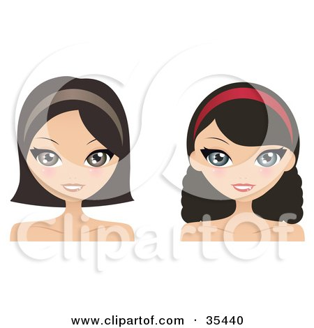 Clipart Illustration of Two Brunette Caucasian Women, One With Curly Hair, Wearing Headbands And Smiling by Melisende Vector