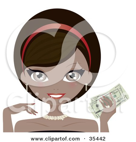 Clipart Illustration of a Beautiful, Wealthy African American Woman In Stunning Jewelery, Holding Cash In Her Hand by Melisende Vector
