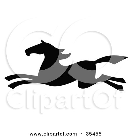 Clipart Illustration of a Black Silhouetted South Western Styled Horse Running Left by C Charley-Franzwa