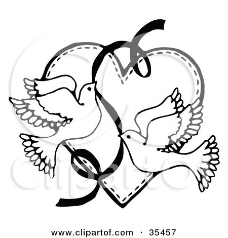Two Doves Flying Tattoo Two Flying Doves With a Ribbon