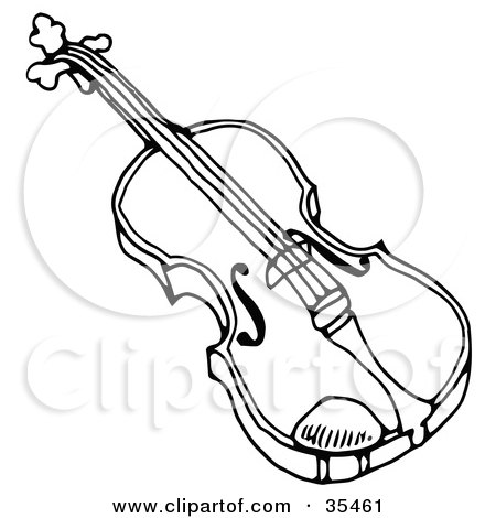 Clipart Illustration of a Black And White Violon Or Viola Instrument by C Charley-Franzwa