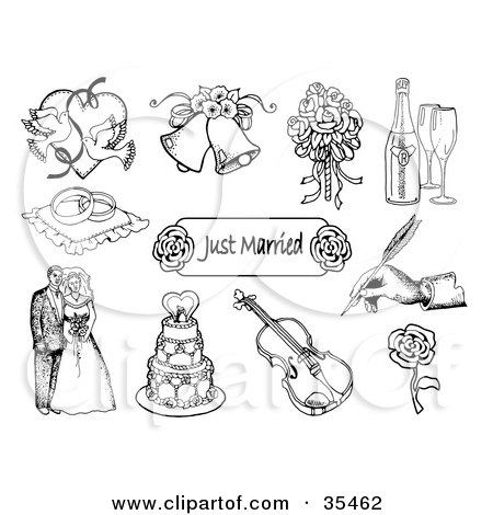 Clipart Illustration of a Set Of Doves, Wedding Bells, A Bridal Bouquet, Champagne, Ring Pillow, Just Married Sign, Hand Signing, Bride And Groom, Wedding Cake, Violin And Rose Icons by C Charley-Franzwa