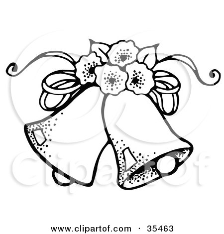 Clipart Illustration of Two Wedding Bells With Flowers by C ...