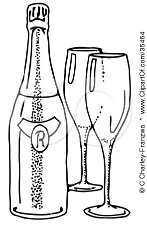 Clipart Illustration of Two Empty Wine Glasses By A Bottle Of Wine by C Charley-Franzwa