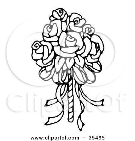 Clipart Illustration of a Bridal Bouquet Of Roses by C Charley-Franzwa