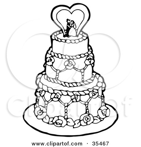 Clipart Illustration of a Black And White Tiered Wedding Cake With A Bride