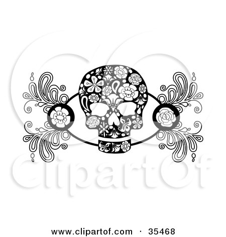 Clipart Illustration of a Black And White Skull Design Element With Roses And Flower Designs by C Charley-Franzwa