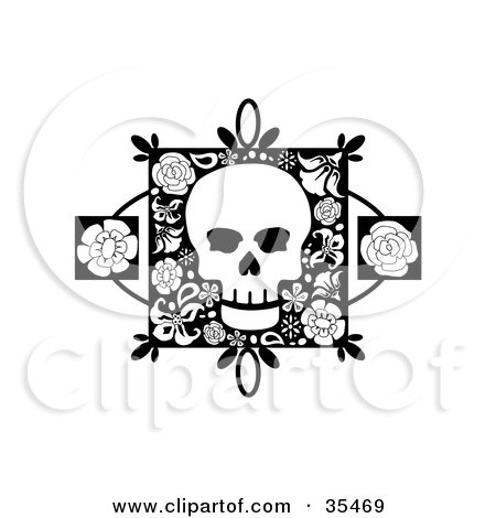White Skull On A Floral Square With Two Rose Accents Posters, Art Prints