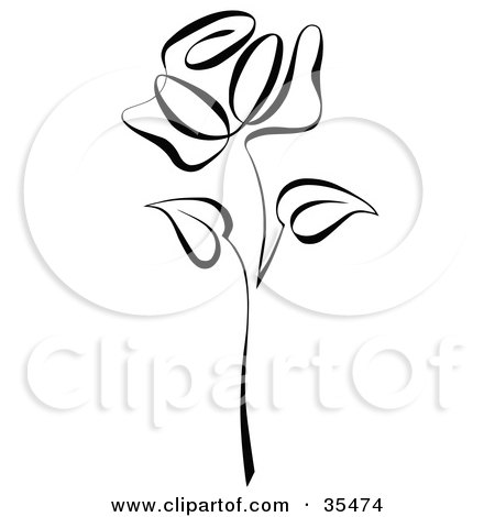 Clipart Illustration of a Black Rose With Two Leaves On The Stem by C Charley-Franzwa
