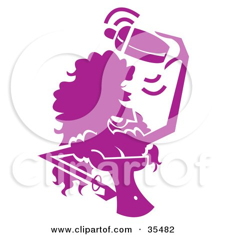 Clipart Illustration of a Busty Female Bartender Mixing Drinks And Having A Blast, Silhouetted In Purple by Andy Nortnik