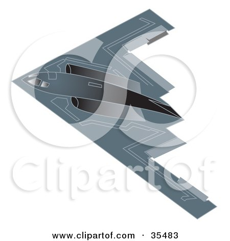 Clipart Illustration of a Stealth B2 Spirit Bomber Aircraft by Andy Nortnik