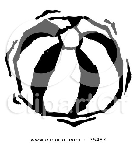 Clipart Illustration of a Bouncy Black And White Beach Ball by Andy Nortnik