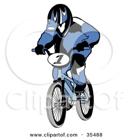 Clipart Illustration of a BMX Biker In A Blue Uniform And Helmet, Racing His Bike by Andy Nortnik