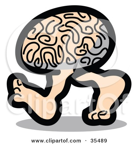 Clipart Illustration of a Genius Brain Walking On Two Legs by Andy Nortnik