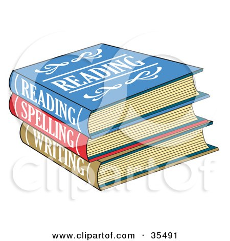 Clipart Illustration of a Stack Of Colorful Reading, Spelling And Writing School Books by Andy Nortnik
