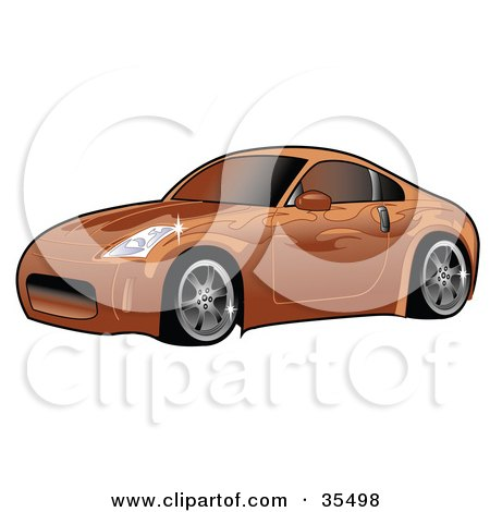 Clipart Illustration of an Orange Nissan 350Z Sports Car With Ghost Flame Decals And Tinted Windows by Andy Nortnik