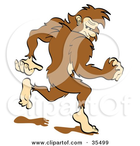 Clipart Illustration of a Sasquatch Running Away, Looking Back Over His Shoulder by Andy Nortnik