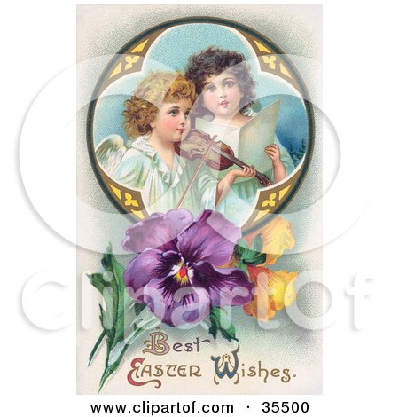 Clipart Illustration of Two Young Victorian Angels Singing And Playing Easter Music With A Violin, In A Circle With Pansies by OldPixels