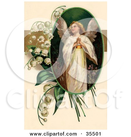 Clipart Illustration of a Beautiful Victorian Easter Angel Looking Upwards, In An Oval Adorned By Lily Of The Valey Flowers by OldPixels