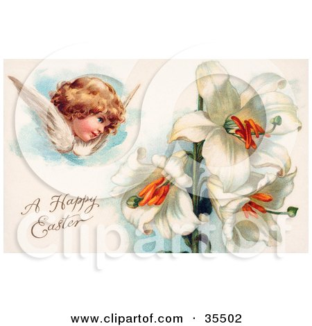Clipart Illustration of a Victorian Cherub Angel Flying Near White Easter Lily Flowers by OldPixels