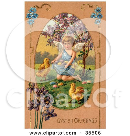Clipart Illustration of a Little Victorian Angel Surrounded By Chicks, Kneeling And Gathering Easter Eggs In Her Gown by OldPixels