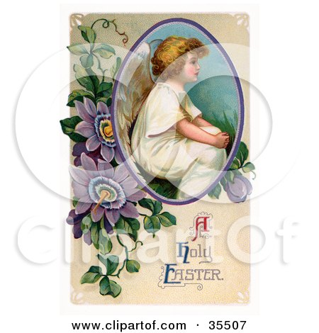 Clipart Illustration of a Victorian Easter Cherub Angel Seated In A Circle With Purple Passion Flowers by OldPixels