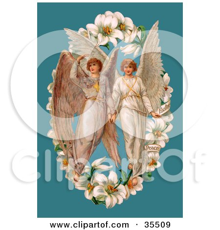 Clipart Illustration of Two Victorian Angels In The Center Of An Easter Lily Garland, Over A Blue Background  by OldPixels