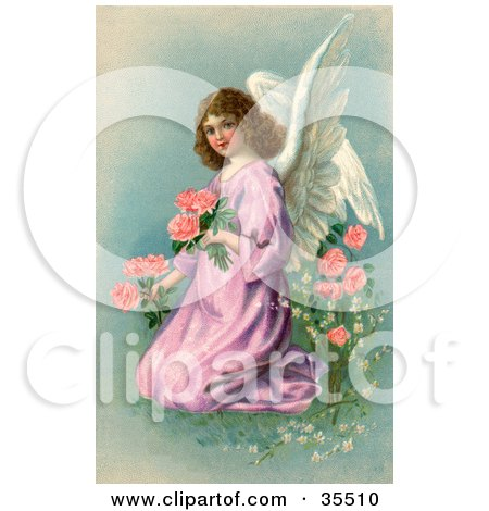 Clipart Illustration of a Pretty Victorian Angel In A Purple Gown, Kneeling And Picking Pink Flowers On Easter by OldPixels