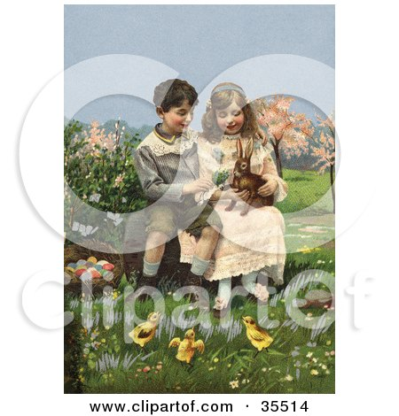 Clipart Illustration of a Victorian Boy And Girl Sitting On A Log And Playing With A Rabbit While Chicks Watch, A Basket Of Easter Eggs At Their Side by OldPixels