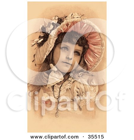 Clipart Illustration of a Beautiful Little Victorian Girl Dressed In Her Easter Dress And Bonnet, Looking To The Right by OldPixels